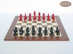 picture of Red and Black Maple Staunton Chessmen with Spanish Wood Chess Board [Large] (4 of 6)