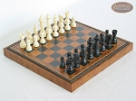 Contemporary Staunton Chessmen with Patterned Italian Leatherette Board with Storage [Brown] - Item: 704