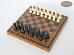 picture of Contemporary Staunton Chessmen with Patterned Italian Leatherette Board with Storage [Brown] (2 of 7)