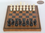 picture of Contemporary Staunton Chessmen with Patterned Italian Leatherette Board with Storage [Brown] (3 of 7)