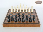 picture of Contemporary Staunton Chessmen with Patterned Italian Leatherette Board with Storage [Brown] (4 of 7)