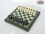 picture of Contemporary Staunton Chessmen with Patterned Italian Leatherette Chess Board with Storage [Green] (2 of 7)