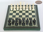 picture of Contemporary Staunton Chessmen with Patterned Italian Leatherette Chess Board with Storage [Green] (3 of 7)
