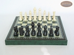 picture of Contemporary Staunton Chessmen with Patterned Italian Leatherette Chess Board with Storage [Green] (4 of 7)