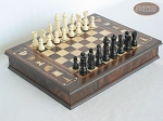 Contemporary Staunton Chessmen with Italian Chess Board with Storage [Large] - Item: 702