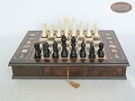 Contemporary Staunton Chessmen with Italian Chess Board with Storage [Large]