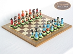 Hungarian Szur Chessmen with Spanish Mosaic Chess Board - Item: 724