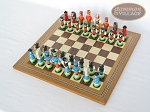 picture of Hungarian Szur Chessmen with Spanish Mosaic Chess Board (2 of 7)