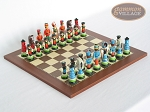 Hungarian Szur Chessmen with Spanish Traditional Chess Board [Small] - Item: 726