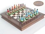 Hungarian Szur Chessmen with Italian Alabaster Chess Board with Storage - Item: 729
