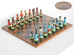 Hungarian Szur Chessmen with Patterned Italian Leatherette Chess Board - Item: 725