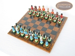 picture of Hungarian Szur Chessmen with Patterned Italian Leatherette Chess Board (2 of 7)