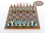 Hungarian Szur Chessmen with Patterned Italian Leatherette Chess Board