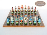 picture of Hungarian Szur Chessmen with Patterned Italian Leatherette Chess Board (4 of 7)