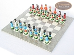 picture of Hungarian Szur Chessmen with Spanish Lacquered Chess Board [Grey] (2 of 7)