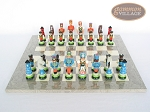 picture of Hungarian Szur Chessmen with Spanish Lacquered Chess Board [Grey] (4 of 7)