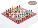 Hungarian Szur Chessmen with Italian Lacquered Chess Board [Red] - Item: 731