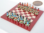 picture of Hungarian Szur Chessmen with Italian Lacquered Chess Board [Red] (2 of 7)
