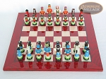 picture of Hungarian Szur Chessmen with Italian Lacquered Chess Board [Red] (3 of 7)