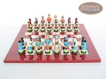 picture of Hungarian Szur Chessmen with Italian Lacquered Chess Board [Red] (4 of 7)