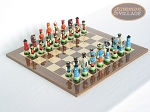 picture of Hungarian Szur Chessmen with Spanish Lacquered Chess Board [Wood] (1 of 7)