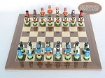 Hungarian Szur Chessmen with Spanish Lacquered Chess Board [Wood]