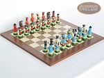 Hungarian Szur Chessmen with Spanish Traditional Chess Board [Large]