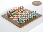 Hungarian Szur Chessmen with Italian Lacquered Chess Board [Wood] - Item: 730