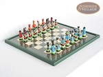 Hungarian Szur Chessmen with Italian Lacquered Chess Board [Green] - Item: 728