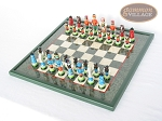 picture of Hungarian Szur Chessmen with Italian Lacquered Chess Board [Green] (2 of 7)