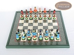 picture of Hungarian Szur Chessmen with Italian Lacquered Chess Board [Green] (3 of 7)