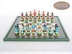 picture of Hungarian Szur Chessmen with Italian Lacquered Chess Board [Green] (4 of 7)
