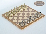 Italian Brass/Silver Staunton Chessmen with Deluxe Wood Chess Board - Item: 743