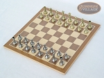 picture of Italian Brass/Silver Staunton Chessmen with Deluxe Wood Chess Board (2 of 6)