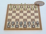 picture of Italian Brass/Silver Staunton Chessmen with Deluxe Wood Chess Board (3 of 6)