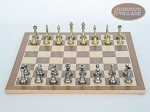 picture of Italian Brass/Silver Staunton Chessmen with Deluxe Wood Chess Board (4 of 6)