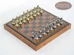 Italian Brass/Silver Staunton Chessmen with Patterned Italian Leatherette Chess Board with Storage [Small] - Item: 748