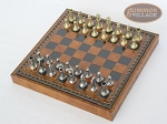 picture of Italian Brass/Silver Staunton Chessmen with Patterned Italian Leatherette Chess Board with Storage [Small] (2 of 7)