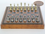picture of Italian Brass/Silver Staunton Chessmen with Patterned Italian Leatherette Chess Board with Storage [Small] (4 of 7)