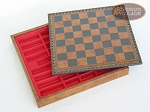 picture of Italian Brass/Silver Staunton Chessmen with Patterned Italian Leatherette Chess Board with Storage [Small] (5 of 7)