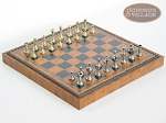 Italian Brass/Silver Staunton Chessmen with Patterned Italian Leatherette Chess Board with Storage [Brown] - Item: 745