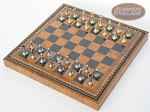 picture of Italian Brass/Silver Staunton Chessmen with Patterned Italian Leatherette Chess Board with Storage [Brown] (2 of 7)