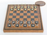 picture of Italian Brass/Silver Staunton Chessmen with Patterned Italian Leatherette Chess Board with Storage [Brown] (3 of 7)