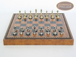 picture of Italian Brass/Silver Staunton Chessmen with Patterned Italian Leatherette Chess Board with Storage [Brown] (4 of 7)