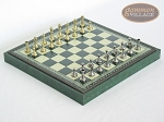 Italian Brass/Silver Staunton Chessmen with Patterned Italian Leatherette Chess Board with Storage [Green] - Item: 746