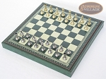 picture of Italian Brass/Silver Staunton Chessmen with Patterned Italian Leatherette Chess Board with Storage [Green] (2 of 7)