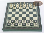 picture of Italian Brass/Silver Staunton Chessmen with Patterned Italian Leatherette Chess Board with Storage [Green] (3 of 7)