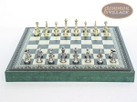 picture of Italian Brass/Silver Staunton Chessmen with Patterned Italian Leatherette Chess Board with Storage [Green] (4 of 7)