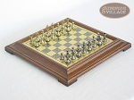 Italian Brass/Silver Staunton Chessmen with Italian Brass Chess Board [Raised] - Item: 747
