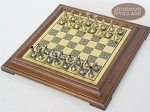 picture of Italian Brass/Silver Staunton Chessmen with Italian Brass Chess Board [Raised] (2 of 6)